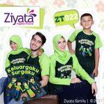 Kaos Keluarga 2 Anak Biru Kombinasi Abu Ziyata ZT 23