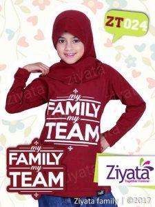 Kaos Ayah Ibu Anak Kaos Anak Perempuan Merah Ziyata ZT024