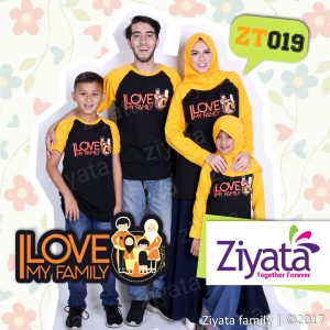 Kaos Keluarga Besar Warna Kombinasi Hitam Emas Ziyata ZT 19