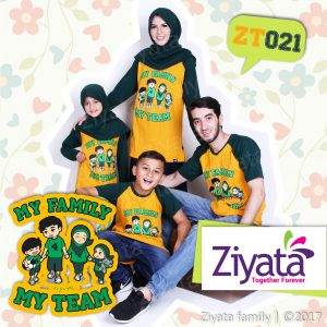 Kaos Keluarga Couple Kuning Kombinasi Hitam Ziyata ZT 21